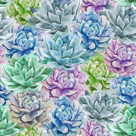 Beautiful vector pattern with nice watercolor succulent flowers
