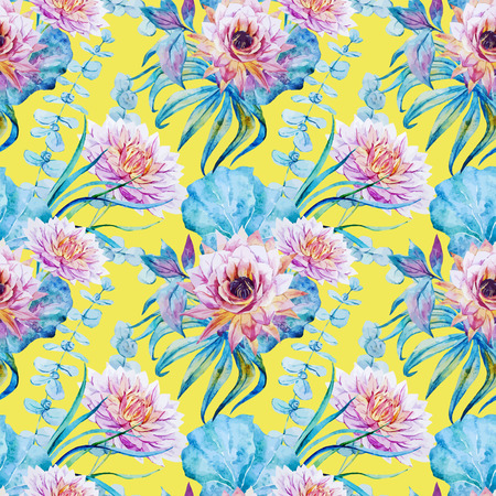 pastel like: Beautiful vector pattern with nice watercolor flowers Illustration