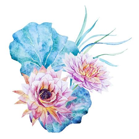 pink flowers: Beautiful vector image with nice watercolor lotus flowers