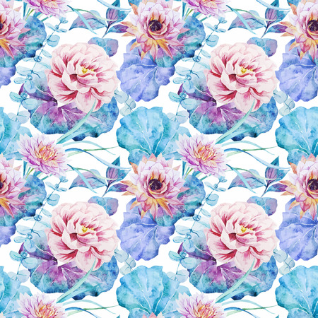 flower sketch: Beautiful vector pattern with nice watercolor flowers Illustration