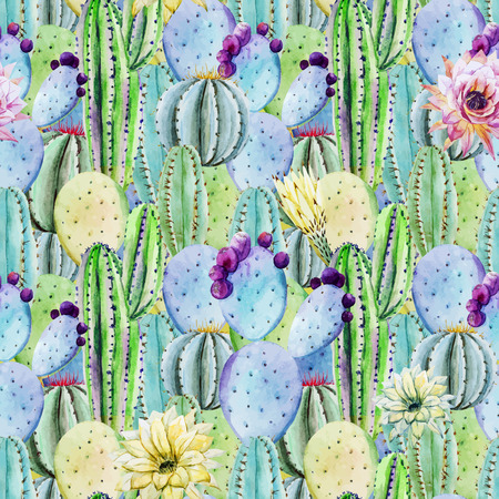 Beautiful vector pattern with nice watercolor cactus peyote Vector