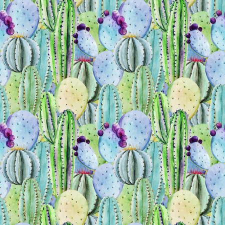 Beautiful vector pattern with nice watercolor cactus peyote