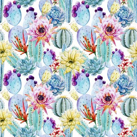 Beautiful vector pattern with nice watercolor cactus peyote