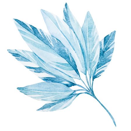 Beautiful vector image with nice tropical watercolor Leaf