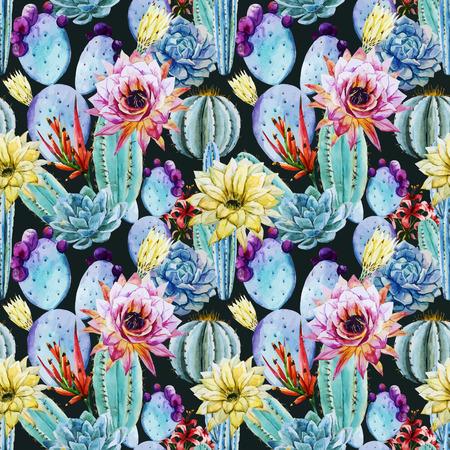 cactus flower: Beautiful vector pattern with nice watercolor cactus peyote
