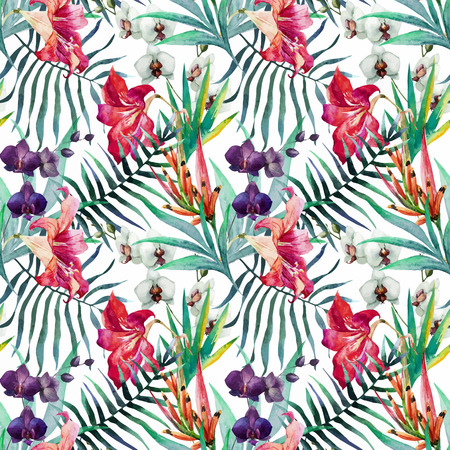 Beautiful vector pattern with nice watercolor tropical flowers Imagens - 39284435