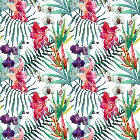 flor de lis: Modelo hermoso del vector con bonita acuarela flores tropicales Vectores