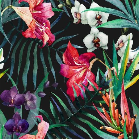 tropical plant: Modelo hermoso del vector con bonita acuarela flores tropicales Vectores