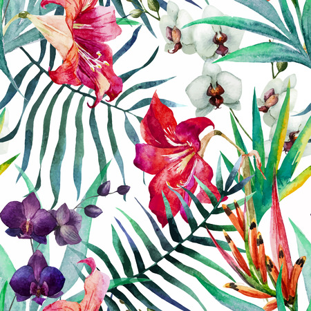 Beautiful vector pattern with nice watercolor tropical flowers Çizim