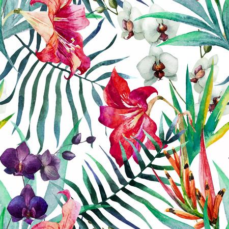 palmier: Belle mod�le vectoriel avec une belle aquarelle de fleurs tropicales