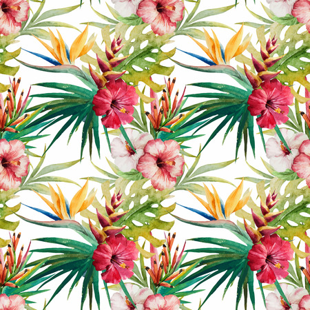 Beautiful vector pattern with nice watercolor tropical flowers Ilustracja