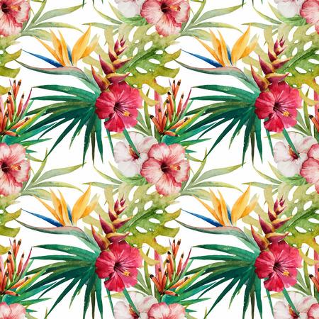 Beautiful vector pattern with nice watercolor tropical flowers Illusztráció