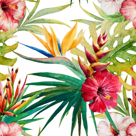 Beautiful vector pattern with nice watercolor tropical flowers Vectores