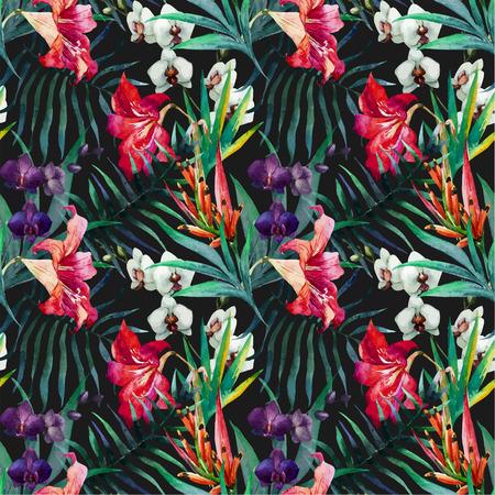 素敵な水彩画の熱帯の花々 の美しいベクター パターン