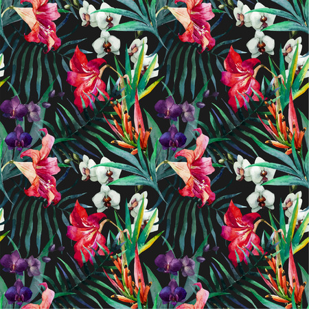 Beautiful vector pattern with nice watercolor tropical flowers Vettoriali