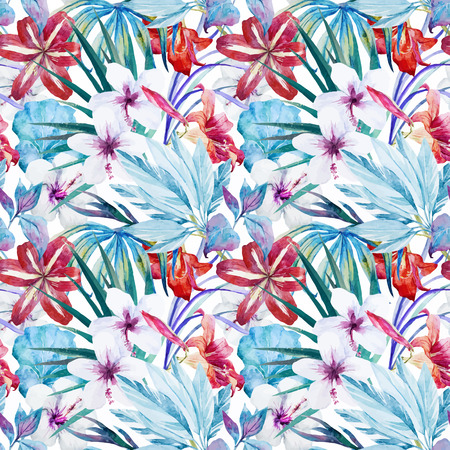 Beautiful vector pattern with watercolor lily an hibiscus flowers