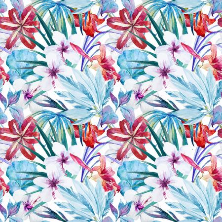 Prachtige vector patroon met waterverf lelie een hibiscus bloemen