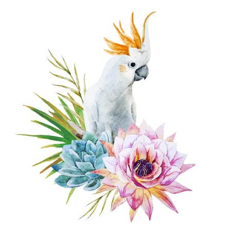 loro: Imagen hermosa del vector con buen loro de la acuarela con las flores