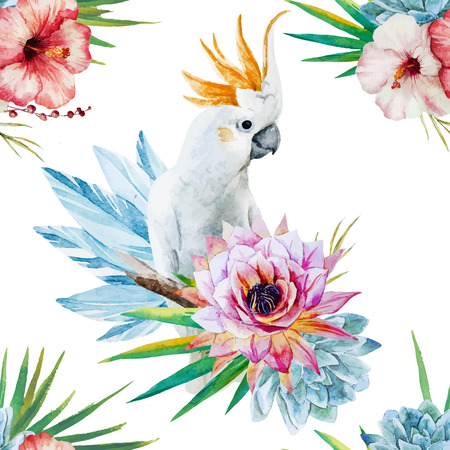 lily leaf: Beautiful vector watercolor pattern with parrot and flowers