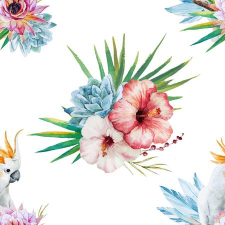 앵무새와 꽃과 아름 다운 벡터 수채화 패턴