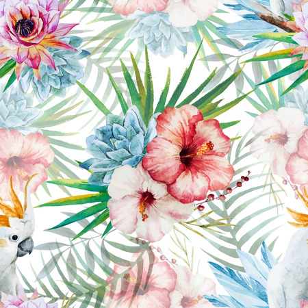 tropisch: Schöne Vektor-Aquarell-Muster mit Papagei und Blumen