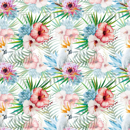 Beautiful vector watercolor pattern with parrot and flowers
