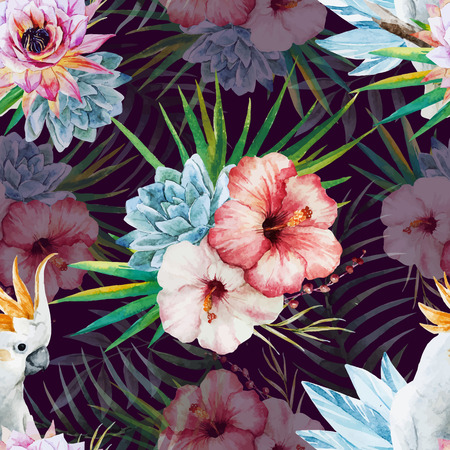 pink lily: Beautiful vector watercolor pattern with parrot and flowers
