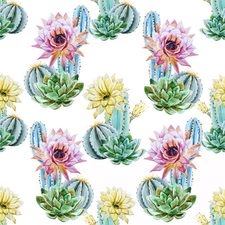 cactus flower: Beautiful vector pattern with nice watercolor cactus