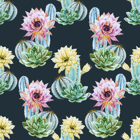 cactus botany: Beautiful vector pattern with nice watercolor cactus