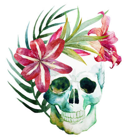 Beautiful vector image with watercolor skull with flowers