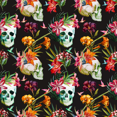 seamless: Beautiful vector pattern with nice watercolor skull and flowers