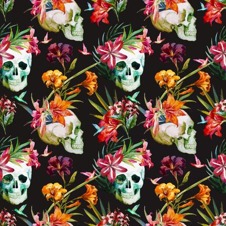 tropisch: Schöne Vektor-Muster mit netten Aquarell Schädel und Blumen Illustration