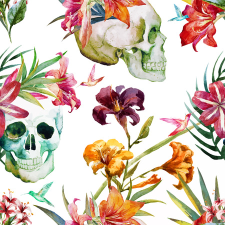 Beautiful vector pattern with nice watercolor skull and flowers Vector
