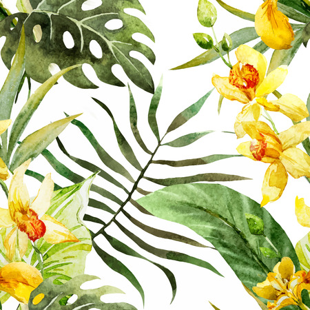 fon: Beautiful vector pattern with nice watercolor canna flowers Illustration