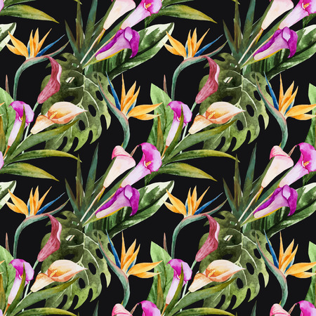 strelitzia: Beautiful vector seamless pattern with nice tropical watercolor flowers