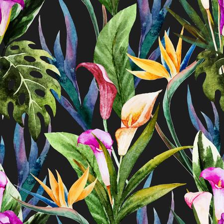 Belle vecteur seamless avec de belles fleurs à l'aquarelle tropicales Vecteurs