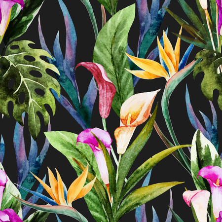 Beautiful vector seamless pattern with nice tropical watercolor flowers