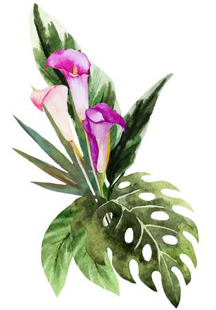Mooie vector afbeelding met mooie tropische aquarel bloemen Stock Illustratie