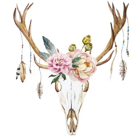 venado: Imagen hermosa del vector con la acuarela cabeza de ciervo con flores silvestres
