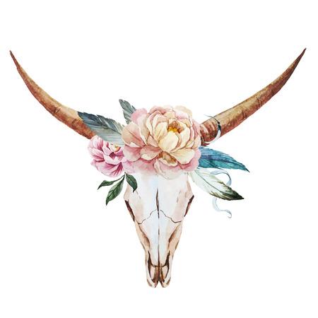 Imagen hermosa del vector con el cráneo bonita acuarela Foto de archivo - 39973073