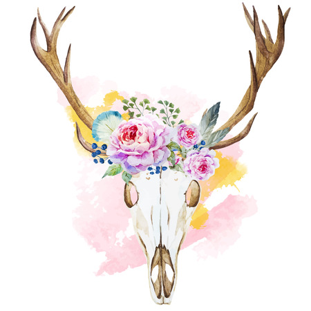 Beautiful vector image with watercolor deer head with wildflowers Ilustração