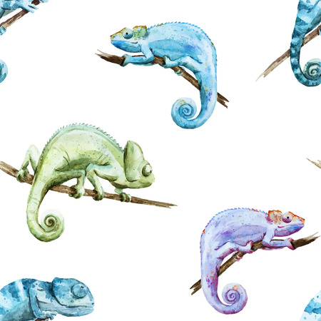 Beutiful watercolor  pattern with reptiles chameleon