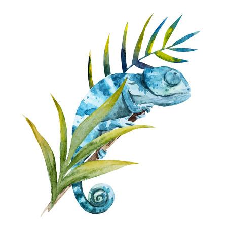Mooi beeld met mooie aquarel kameleon Stock Illustratie