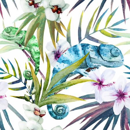chameleon: Beutiful watercolor pattern with reptiles chameleon