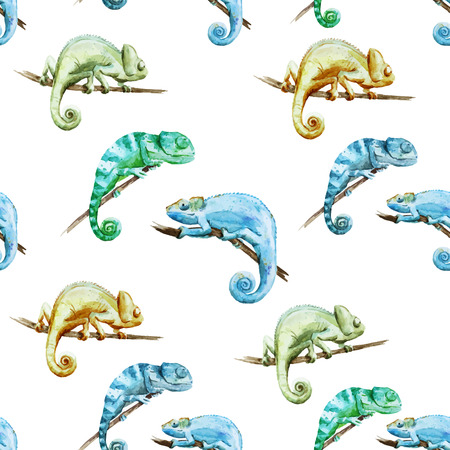 Beautiful watercolor pattern with reptiles chameleon
