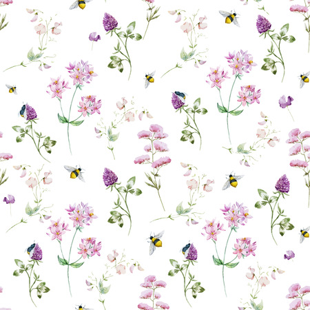 Beautiful  pattern with nice watercolor wildflowers