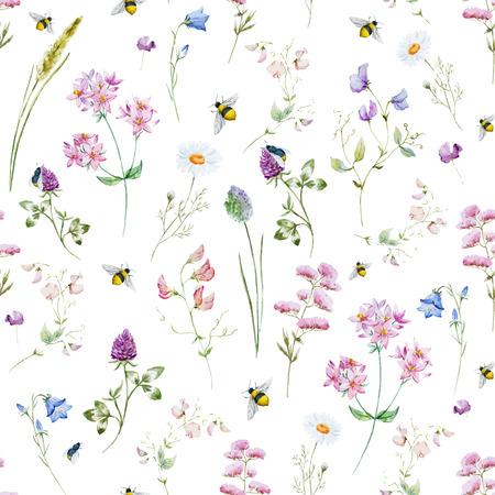 素敵な水彩画ワイルドフラワーが咲き、美しいパターン