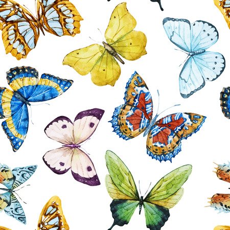 Beautiful vector pattern with nice watercolor butterflies