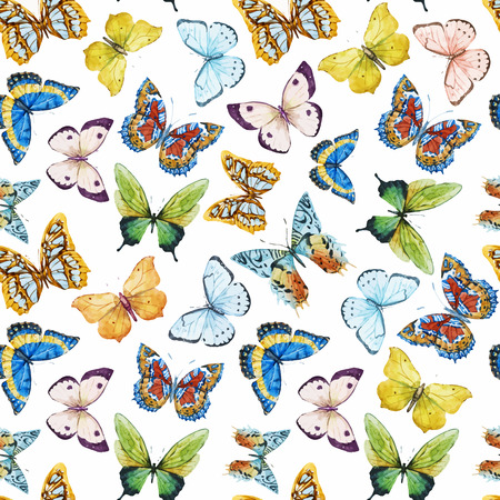 yellow and black: Beautiful pattern with nice watercolor butterflies