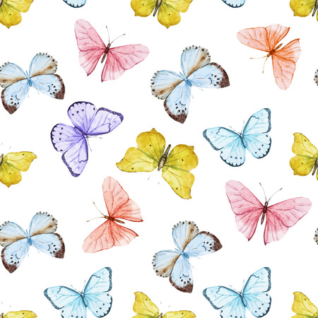 Beautiful  pattern with nice watercolor butterflies Ilustração